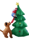1.8m/70in Tall Inflatable Christmas Tree Santa Claus Dog Decor X'mas Outdoor Decorations Ornaments AC100-240V