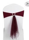 20pcs Wedding Heart Chair Sashes Elastic Spandex Organza Chair Sash Covers Wedding Banquet Supplies Decorations--White
