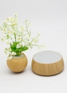 Magnetic Levitation Floating Plant Pot Levitating Rotating Suspension Flower Air Bonsai Pot Flowerpot with Wooden Base for Home Office Decoration EU Plug