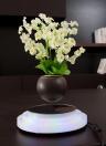 Magnetico galleggiante Vaso da fiori Levitazione Rotante Sospensione Fiore Levitare Aria Bonsai Pot Vaso da fiori con LED Base leggera Spina europea per Home Office Decorazione