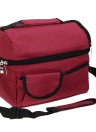 Large Capacity Insulated Square Lunch Bag Cooler Tote Carry Bags Travel Bento Box with Adjustable Shoulder Strap (Wine Red)