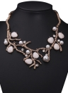 Luxurious Rhinestone Crystal Pearls Beads Tree Branch Choker Necklace