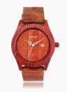 Kimbrel Marca de moda Hombres Mujeres unisex de madera de sándalo de madera del análogo de cuarzo del reloj del reloj con correa de cuero Calendario Función resistente al agua 30m