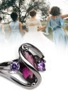 Anillos de zafiro populares románticos europeos Anillo de diamantes chapado en oro negro Accesorios de joyería de moda