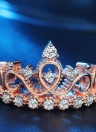 Coroa Inlay Anel de Diamante Cor de Rosa de Ouro Moda Anéis de Cristal Jóias para Festa de Casamento Acessórios de Mulheres e Meninas