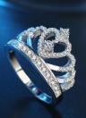 Anillo de diamantes con incrustaciones de corona Anillo de plata con cristales y bisutería para accesorios de boda para mujeres y niñas