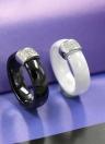 Nano cerámica y S925 plata cúpula anillo pulido con CZ diamante incrustado blanco oro galvanizado tamaño #6 #7 #8 6mm ancho