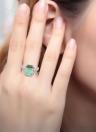 925 Sterling Silber Fashion CZ Diamant Quadrat Cubic simuliert Opal Ring Frauen Mädchen Hochzeit Engagement Schmuck
