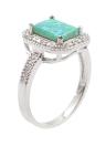 925 plata esterlina moda diamante CZ cuadrado cúbico simulado anillo mujer chica boda compromiso joyería del ópalo de