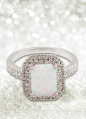 925 Sterling Silver Fashion CZ Diamond Square Cubic Simulated Opal Ring