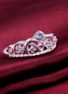 Fashion Crystal Rhinestone Crown Ring Silver Plated Ring