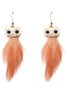 Vintage Feather Pendant Ear Drop Owl Dangle Earrings