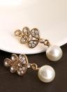 Colgante, collar de perlas de moda de aleación de zinc del deslumbramiento del cristal del Rhinestone simulado con 1 par de pendientes del encanto Sistema de la joyería de la boda del partido de las mujeres de las muchachas regalo