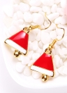 Christmas Metal Zinc Alloy Necklace Earrings Enamel Jewelry Set
