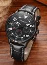 OCHSTIN Nova moda de luxo de couro genuíno Luminous Men Watch Calendar Quartz Analog Man Casual Relógio de pulso 30M resistente à água + Box