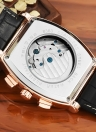 TEVISE Calendar Automatic Leather Self-Winding Skeleton Men Mechanical Watch