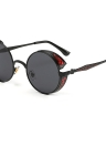 Classical Steampunk Euramerican Round Metal Carved Dazzling Sunglasses