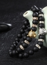 Fashion Natural Stone Frosted Bracelet Elastic Bracelet Leopard Head Embedded Crystal