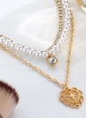 Multi-layer Necklace Pearl Diamond Heart Pendant Women Charm Necklace Jewelry