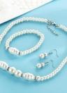 Personalidad de la moda Conjunto de joyas de perlas Collar Pendientes Pulsera para mujeres compromiso de la boda