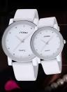 SINOBI elegância quartzo homens mulheres relógio resistente à água simples discagem Rhinestone incorporado PU macio couro casais relógios maravilhosa linda dele e dela assistir