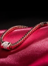 ROXI mujeres chica moda rosa chapado en oro diamante CZ grano pulsera brazalete estilo Punk joyas accesorio