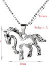 Trendy Silver Plated Rhinstone Crystal Unicorn Horse Pendant Necklace