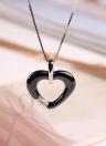 Fille Femmes Mode Unique Argent 925 Zircon strass cristal en forme de coeur en céramique Bague Collier Pendentif Bijoux de la chaîne pour les cadeaux de mariage Party