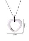 Unique 925 Sterling Silver Zircon Rhinestone Crystal Ceramic Heart Necklace