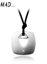 Punk Hollow Metal Stainless Steel Pendant Leather Rope Necklace