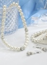 Fashion Personality Pearl Jewelry Set Necklace Earrings Bracelet for Women Wedding Engagement