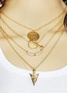 Moda exagerada de múltiples capas collar alas flecha escala colgante decoración de la joyería de las mujeres