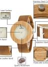 Redear Wooden Watch Women Quartz Watch Genuine Leather Band Wristwatch Female Relogio Feminino