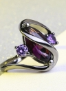 European Romantic Popular Sapphire Rings Black Gold Plated Diamond Ring Fashion Jewelry Accessories