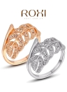 Roxi Vintage Leaf Design Gold Plated Zircon Rhinestone Ring