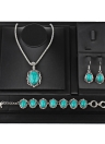Hollow Sliver Green Rimous Oval Turquoise Collar Earrings Necklace Bracelet Jewelry Set