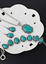 Hohle Splitter Grün Rimous Oval Türkis Kragen Ohrringe Halskette Armband Schmuck-Set