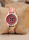 Bobo bird moda relógios de madeira de bambu para as mulheres de quartzo senhoras de madeira colorido casual relógio de pulso melhor presente + caixa