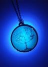 Liga metálica de bronze colar colar luminosa noite brilhante árvore vida redonda pingente Lobster Clasp 18 em cadeia polido eletrodepositado estilo onírico