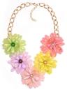 Cadena colorida retra del collar del ahogador de los colgantes de la flor del vintage