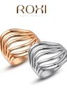 Joyería del anillo de oro clásico Roxi nueva manera caliente único chapado de la Mujer partido de compromiso de las muchachas del regalo de boda