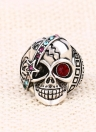 Personnalité Retro Skull with Red Zircon Eye Embedded Crystal Ring