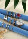 Moda Retro tallada diamante redondo 12 piezas de anillos conjunto combinación conjunta anillos exagerados