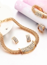 Moda Jewlery Set Cadena Bola de Agua incrustado Collar de Cristal Ear Studs Pulsera Anillo de Joyería de Las Mujeres