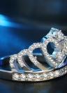 Crown Inlay Diamond Ring Argento Moda Anelli di cristallo Gioielli per accessori da sposa per feste di donne e ragazze
