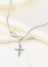 Elegant Silver Plated Infinity Cross Pendant Chain Party Short Necklace
