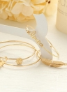 4Pcs Bracelet Set Letter Love Design Cute Antler Feather Shape Alloy Bracelets