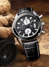 Megir Genuine Leather 3 Dials Analog Date Chronograph Men's Quartz Watch