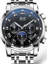 Angela Bos Relógio de quartzo de aço inoxidável de luxo 3ATM resistente a água