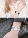SK Mesh Stainless Steel PU Strap 30M Water Resistant Women's Quartz Watch